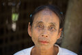 Portrait tribe tattooed Chin woman. Mrauk U, Myanmar