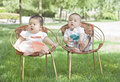 Portrait of twinborn babies a pair asian are sitting in chair on grass Stock Photos