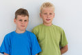 Portrait of two boys in colored t shirts Royalty Free Stock Photos