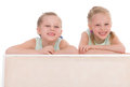 Portrait of two cheerful children close up lying at home happy family love and friendship concepts Stock Photo