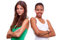 Portrait of two different nationalities girls Royalty Free Stock Photo