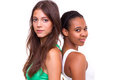 Portrait of two different nationalities girls Royalty Free Stock Photography