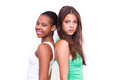 Portrait of two different nationalities girls Stock Image