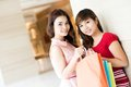 Portrait two girls shopping mall Stock Photography