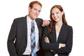 Portrait of two happy business people in a suit Royalty Free Stock Photography