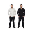 Portrait of two identical man isolated over white background Royalty Free Stock Images