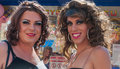 Portrait of a two posing drag queens Royalty Free Stock Photo