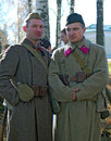 Portrait of two soldiers reenactors dressed as ww ii russian on october in borodino moscow region russia the battle they Royalty Free Stock Photography