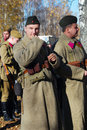 Portrait of two soldiers reenactors dressed as ww ii russian on october in borodino moscow region russia the battle they Royalty Free Stock Photos