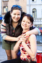 Portrait of two young beautiful women Stock Image