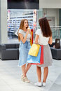 Two Girls with Shopping Bags Chatting Royalty Free Stock Photo