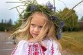 Portrait of ukrainian girl in chaplet emotional flower Stock Photos