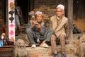 Portrait of unidentified Nepalese man smokes on the street, in Bhaktapur, Nepal. Royalty Free Stock Photo