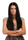 Funny portrait of young angry woman