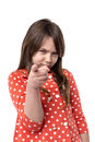 Portrait of upset little girl accusing with her finger Royalty Free Stock Photo