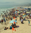 Portrait view of santa monica beach on a hot summer afternoon los angeles usa july thousands locals and tourists flock to day Stock Photography