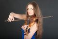 Portrait of violinist on black background closeup Stock Photo