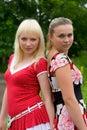 Portrait von zwei Freundinnen Stockbilder
