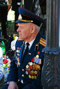 Portrait of a war veteran he wears many awards moscow may victory day celebration in moscow Royalty Free Stock Photos