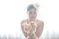 Portrait wedding asian woman beautiful bride with bouquet focus on Royalty Free Stock Photo