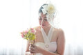 Portrait Wedding asian woman. Beautiful bride with bouquet Royalty Free Stock Photo