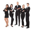 Portrait of welldressed businesspeople full length standing against white background Royalty Free Stock Photo
