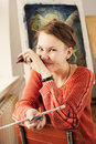 Portrait of woman artist with quirky expressions Royalty Free Stock Photo