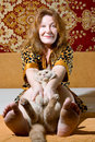 Portrait of woman and cat Royalty Free Stock Photography