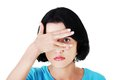 Portrait woman covering eyes because of shame a Stock Photos