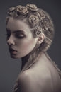image photo : Portrait of woman with creative hairstyle