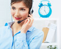 Portrait of woman customer service worker call center smiling operator with phone headset young female business model Royalty Free Stock Photography