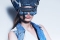 Portrait of woman in denim blue sunglasses Royalty Free Stock Photo