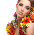 Portrait woman dressed spring flowers Royalty Free Stock Photo