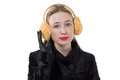 Portrait of a woman with earmuffs isolated photo Stock Photos