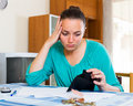 Portrait of woman with empty wallet Royalty Free Stock Photo