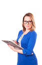 Portrait of a woman in glasses and with folder in her hands Royalty Free Stock Photo