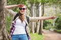 Portrait of woman hitch hiking Royalty Free Stock Photo