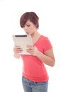 Portrait of woman holding her tablet computer and communicating Royalty Free Stock Photography