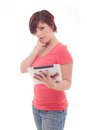 Portrait of woman holding her tablet computer and communicating Royalty Free Stock Photos