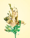 Portrait of woman with leaves double exposure young abstract Royalty Free Stock Photo