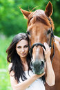 Portrait woman next horse Royalty Free Stock Photo