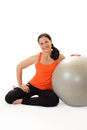 Portrait of a woman with a Pilates exercise ball Stock Photos