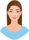 Portrait of a woman with a plastic surgeon pattern on