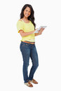 Portrait of a woman student using a touch pad Royalty Free Stock Photos