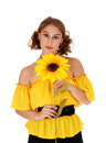 Portrait of woman with sunflowers. Royalty Free Stock Photo