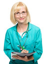 Portrait of a woman wearing doctor uniform Royalty Free Stock Images