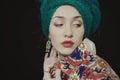 Portrait of woman wearing a woman s headdress beautiful young Royalty Free Stock Photo