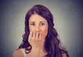 Portrait of worried woman Royalty Free Stock Photo