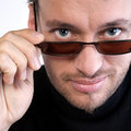 Portrait of a young adult man with sunglasses Stock Photos
