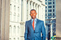 Portrait of Young African American Businessman in New York.